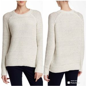 Vince chunky knit sweater gray and cream s steel